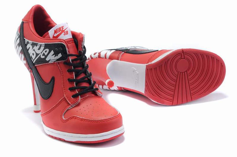 Nike Dunk High Heels Red Black Logo