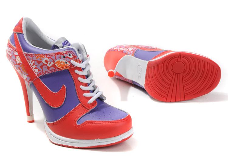 Nike Dunk High Heels Red Purple