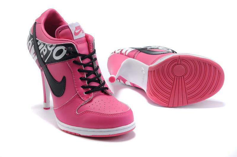 Nike Dunk High Heels Red White Black Logo