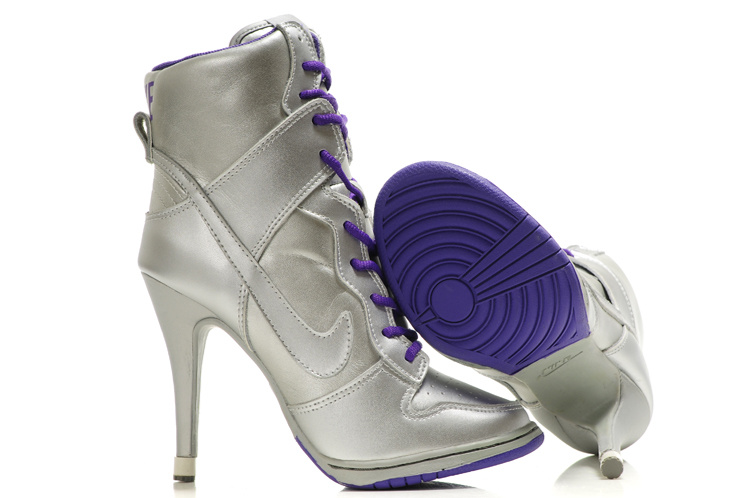 Nike Dunk High Heels Silver Purple