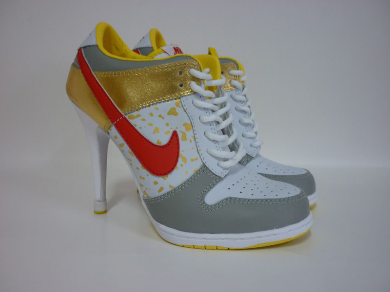 Nike Dunk High Heels White Grey Yellow Red