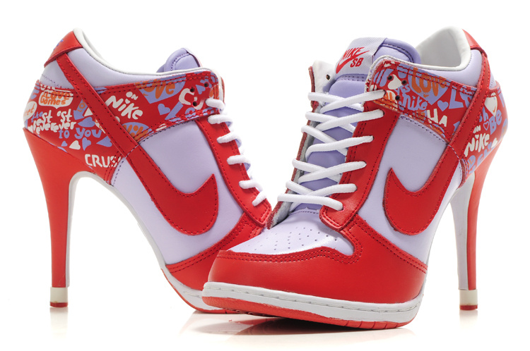 Nike Dunk High Heels White Red