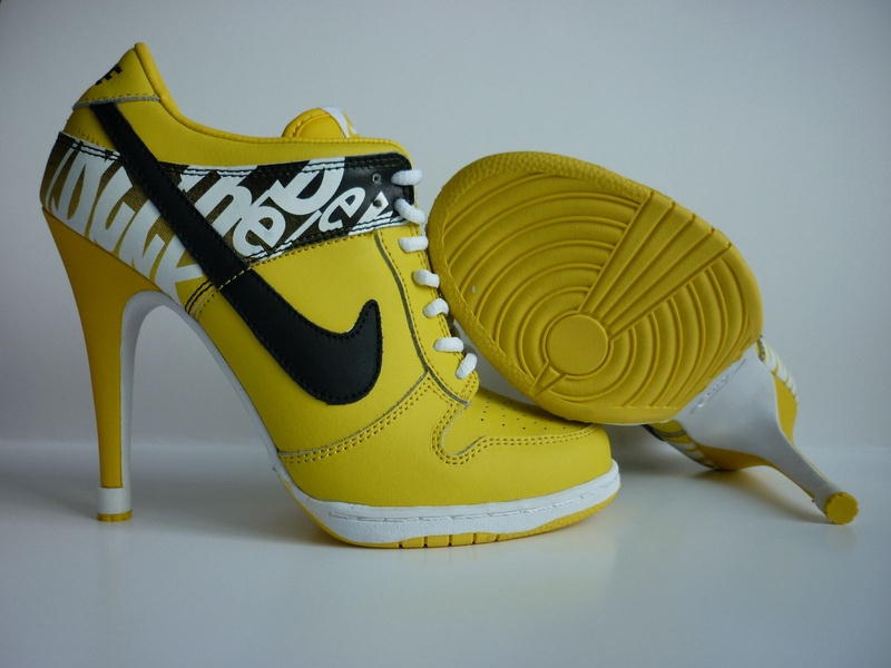 Nike Dunk High Heels Yellow White Black Logo