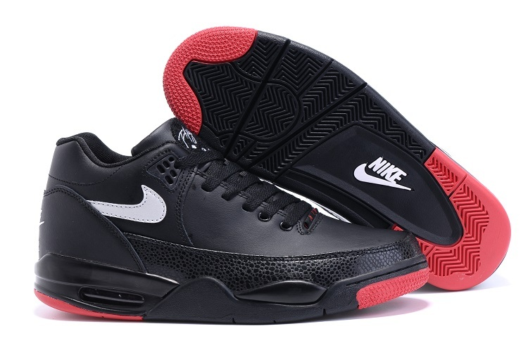 Nike Flight Squad Black Red White Swoosh Shoes