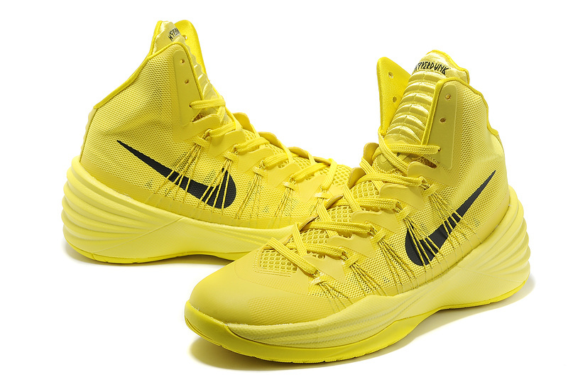 Nike Hyperdunk 2013 XDR Olympic Lebron All Yellow Black Logo Shoes