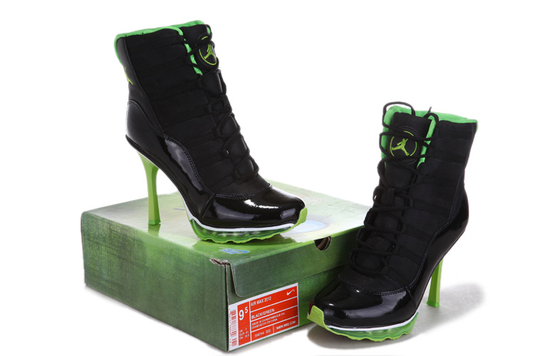 Nike Jordan 11 High Heels Black Green