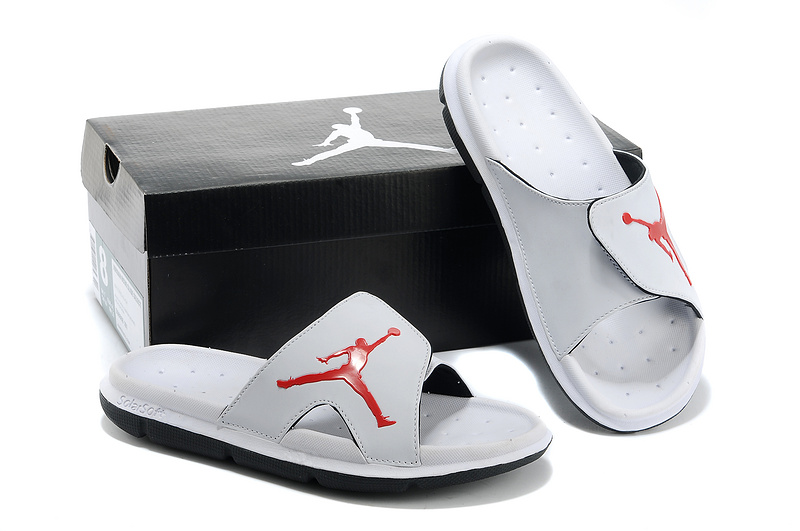 Nike Jordan Massage Hydro All Grey Red Logo Sandal