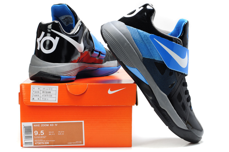 cheap real nike kevin durant 4 black blue white logo shoes