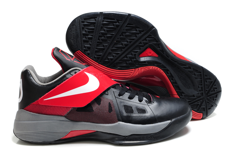 Nike Kevin Durant 4 Black Red White Logo Shoes