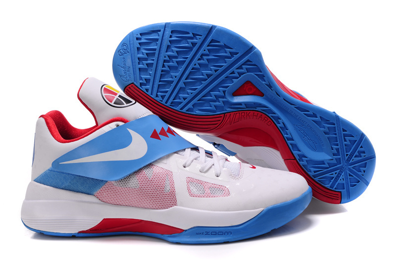 Nike Kevin Durant 4 White Baby Blue Red Shoes