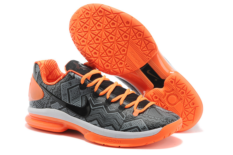 Nike Kevin Durant 5 Grey Black Orange Basketball Shoes