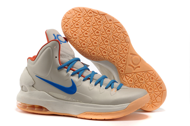 Nike KD 5 High Light Gold Blue Orange Basketball Shoes