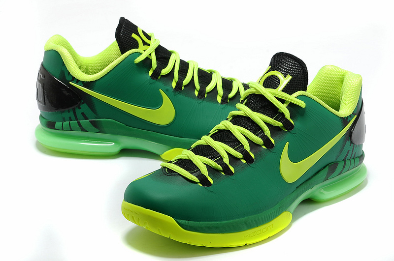 Nike Kevin Durant 5 Low Black Green Basketball Shoes