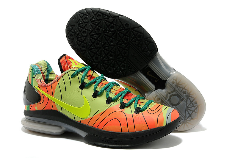 Nike Kevin Durant 5 Orange Green Black Shoes