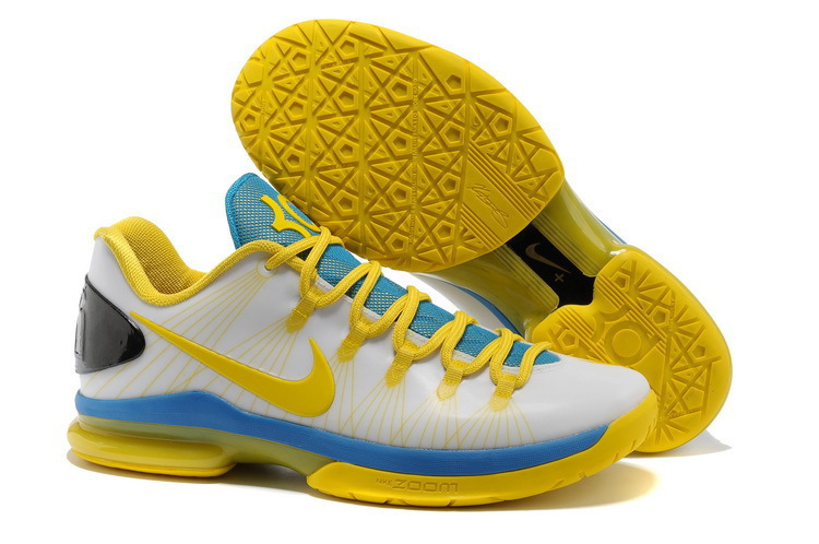 Nike Kevin Durant 5 White Yellow Blue Basketball Shoes