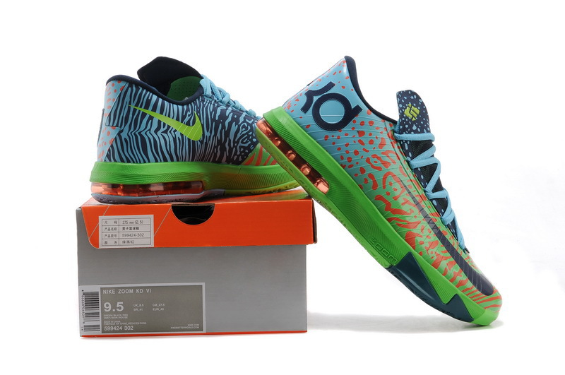 Nike Kevin Durant 6 Black Green Blue Basketball Shoes