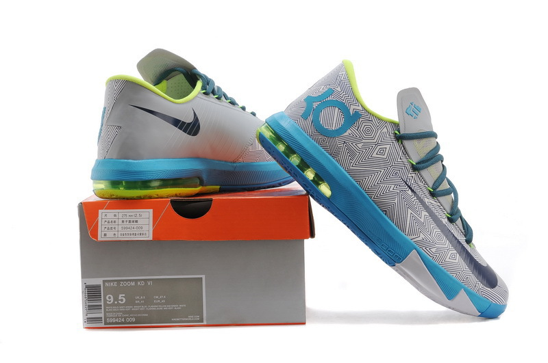 Nike Kevin Durant 6 Grey Black Baby Blue Basketball Shoes