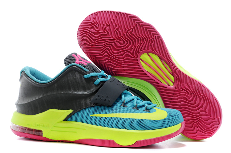 Nike Kevin Durant 7 Blue Black Yellow Pink Basketball Shoes