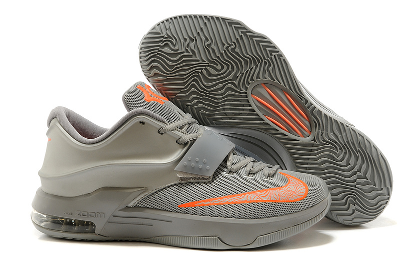 Nike Kevin Durant 7 Grey Orange Basketball Shoes