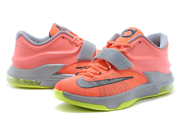Nike Kevin Durant 7 Grey Orange Yellow Basketball Shoes