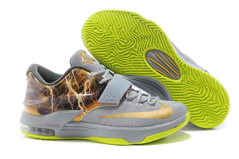 Nike KD 7 Thunder Grey Green Gold Shoes