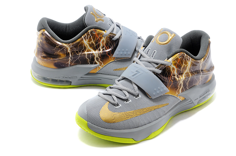 buy popular a9fb3 98a70 Nike KD 7 Thunder Grey Green Gold Shoes