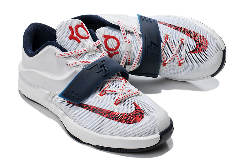 Kid's Kevin Durant 7 White Red Blue