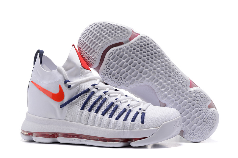 Nike KD 9 Elite White Blue Red Shoes