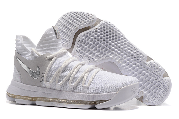 Nike Kevin Durant 10 White Grey Silver Shoes