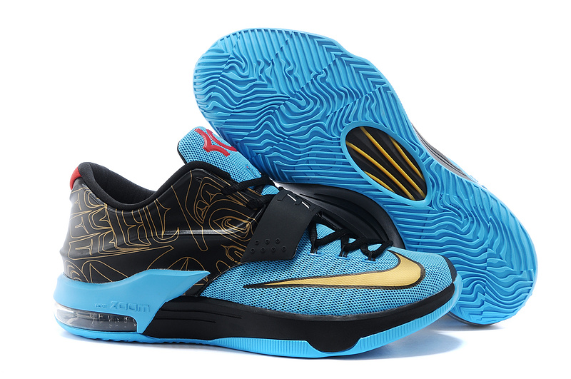 Buy Cheap Nike Kevin Durant 7 Black Blue Gold Shoes