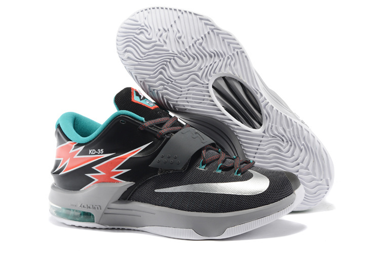 Nike Kevin Durant 7 Black Silver Red Green Grey Shoes