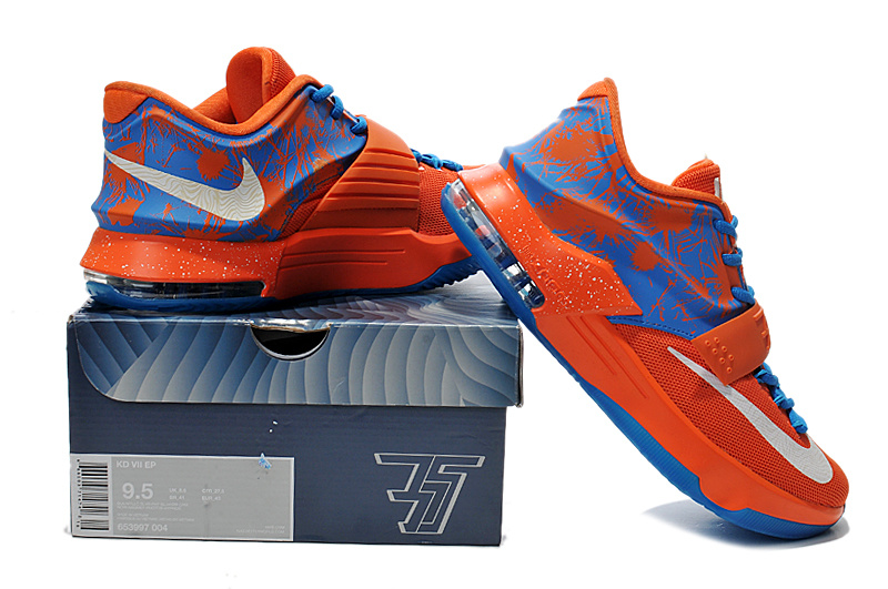Cheap Nike Kevin Durant 7 Orange Blue Shoes Online Sale