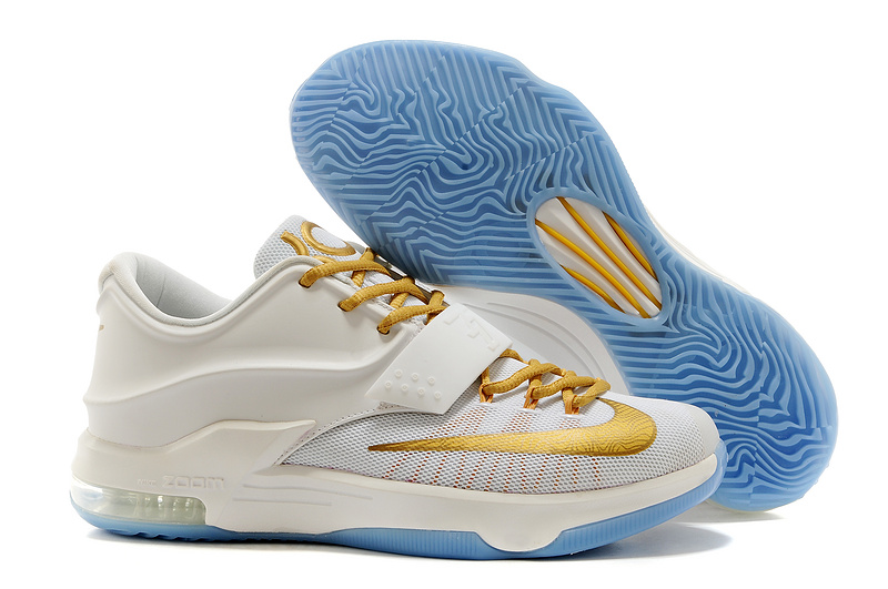 Nike Kevin Durant 7 White Gold Baby Blue Basketball Shoes