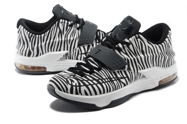 nike kevin durant 7 zebra black white shoes