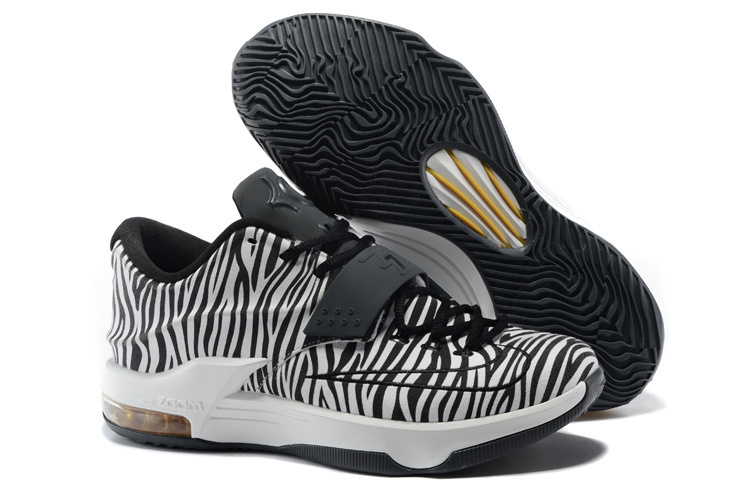 Nike Kevin Durant 7 Zebra Strip Black White Shoes