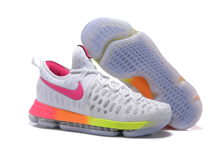 Nike Kevin Durant 9 White Red Fluorscent Green Shoes