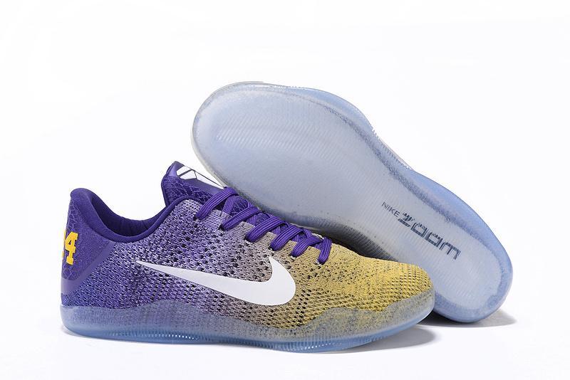 Nike Kobe 11 Elit Yellow Purple White Shoes