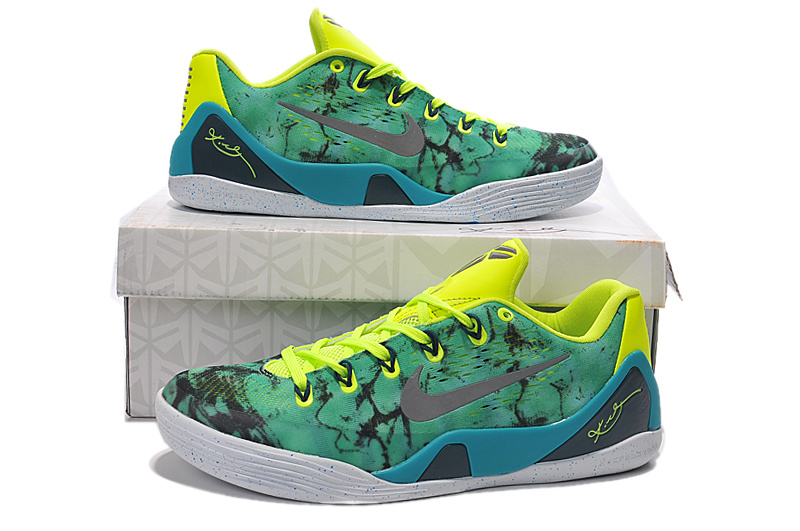 Nike Kobe 9 High Green Yellow Grey Basketball Shoes