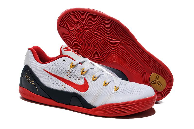 Nike Kobe Bryant 9 Low White Red Black Basketball Shoes