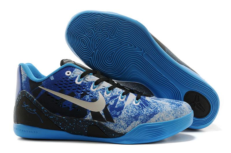 Nike Kobe Bryant 9 Low Blue Black Silver Logo Shoes