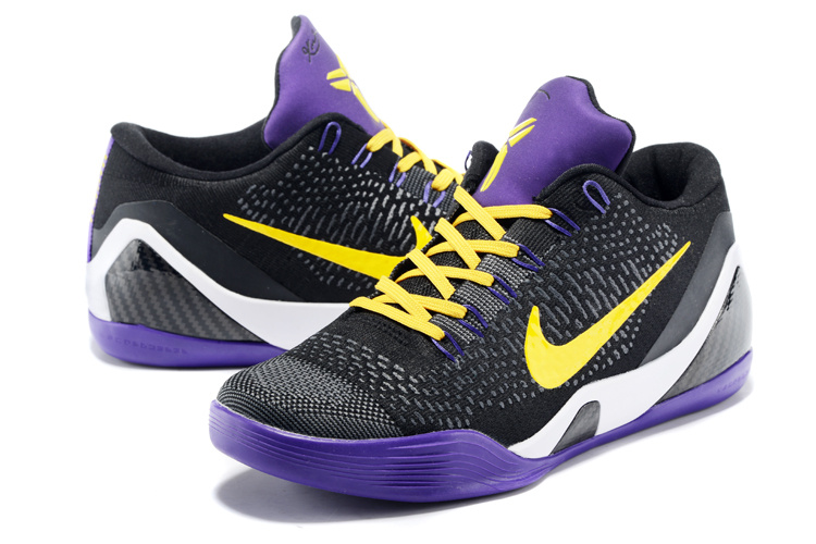 Nike Kobe Bryant 9 Low Knit Hollywood Black Purple Yellow Shoes