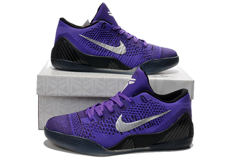 Handsome Nike Kobe Bryant 9 Low Knit Purple Black Shoes Sale