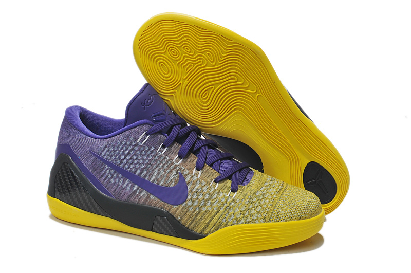 Nike Kobe Bryant 9 Low Knit Yellow Purple Black Shoes