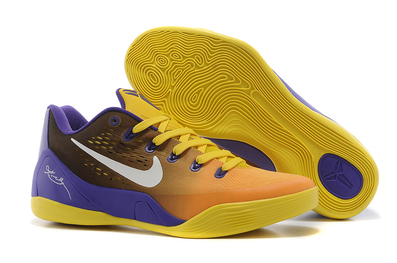 premium selection 247f3 5188c Nike Kobe Bryant 9 Low Yellow Orange Purple Shoes