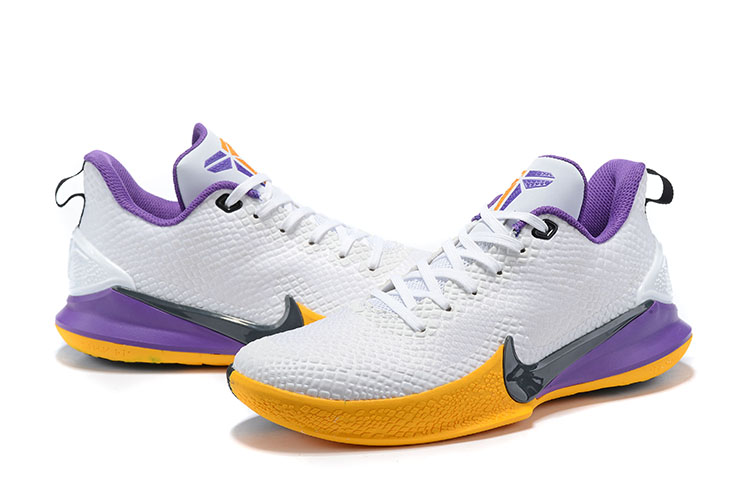 2019 Nike Kobe Mamba Lakers White Purple Yellow Shoes
