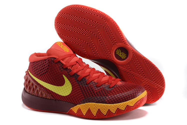 Nike Kyrie 1 Wine Red Yellow Basketball Shoes