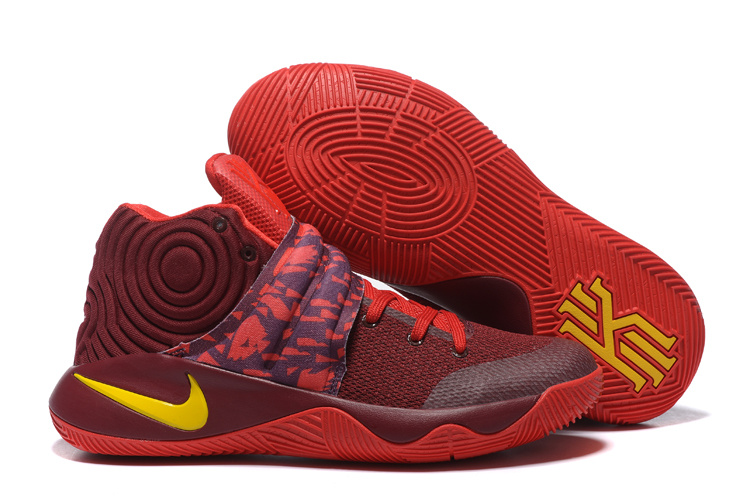 Nike Kyrie 2 Wine Red Yellow Shoes