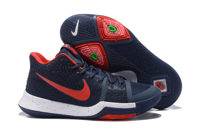 Nike Kyrie 3 Deep Blue Red White Shoes