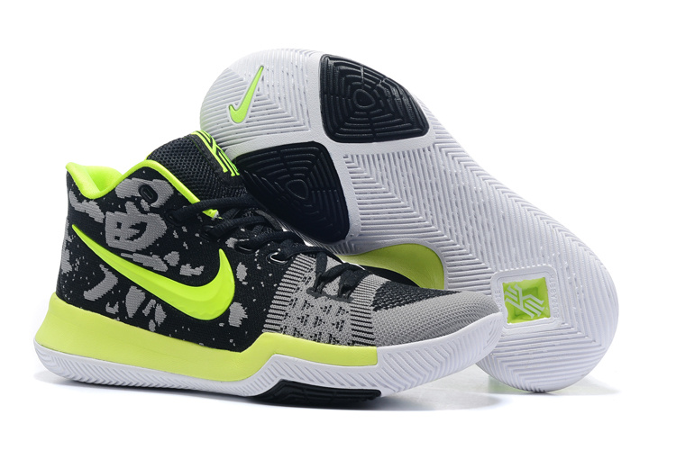 Nike Kyrie 3 Flyknit Black Grey Fluorscent Green Shoes