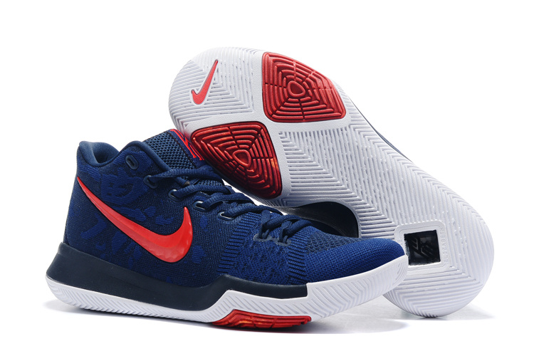 Nike Kyrie 3 Flyknit Deep Blue Red Shoes